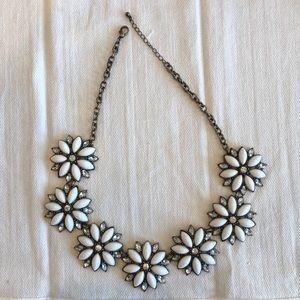 White Flower Statement Necklace